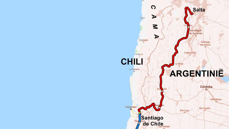 Fietsroute van Carla en Eric van Salta (Argentinië) naar Santiago (Chili)