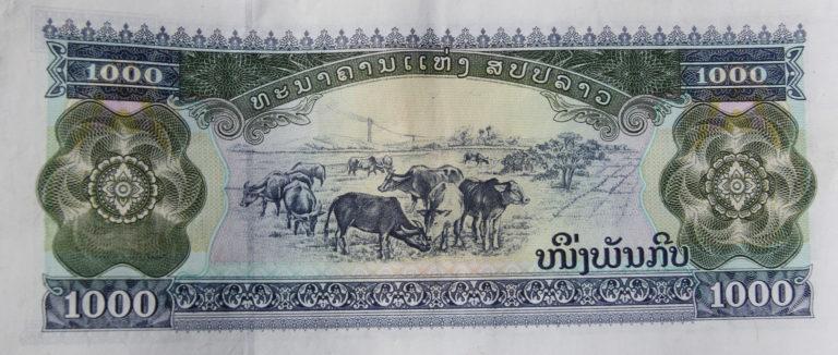 Bankbiljet Laotiaanse kip (munteenheid Laos) tijdens fietstocht van Eric Schuijt langs de Mekong. Die tocht ging door Thailand, Laos, Cambodja en Vietnam
